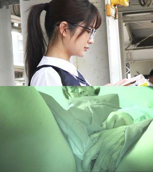 【電車チカン】顔出し制服J○★まさに完璧なメガネ美少女に遭遇★車内とトイレで無情の中出し2連発