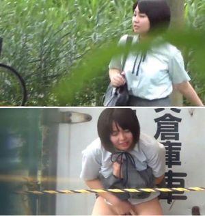 【無】初めてオナニー66 長澤まさみさん似 制服美少女の野外オナニー