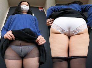【ワンコイン人妻パンチラ】パンツに恥ずかしいおりものシート貼り付けたおばさん