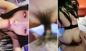 前髪パッツン系の清純さに満ちあふれている台湾系美女が頬を凹ませてフェラに奮闘したりエロい下着姿でモロにハメ撮りしたりする抜くべくして制作された一品♪