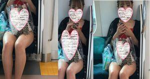 【カメラ目線】神ギャルの輝く美しい生足を電車対面で見学する