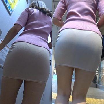 【美尻お姉さんの街歩き】☆ミニスカートから透けたパンティラインがエロい!
